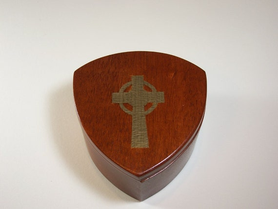 Celtic Cross Keepsake Box Confirmation Box, Mahogany