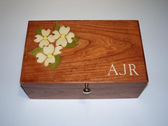 Jewelry Box, Keepsake Box, Dogwood Inlay, Monogram, Cherry