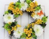 Garden of Delight Floral Spring Door Wreath // Summer Door Wreath //  Srping Wreath for the Door // Summer Weath // Spring Deco Mesh Wreath