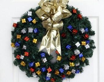 Presents, Presents, Presents Pre-Lit Christmas Wreath, Christmas Front Door Wreath, Holiday Wreath, Christamas Wreath