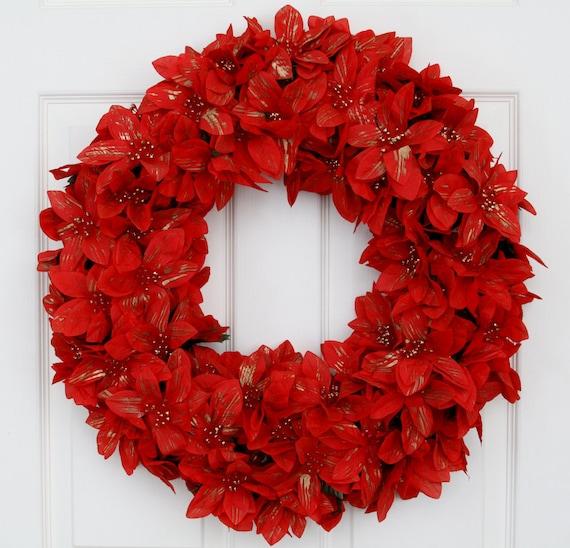 In full bloom poinsettias christmas wreath for 5ft poinsettia garland christmas decoration
