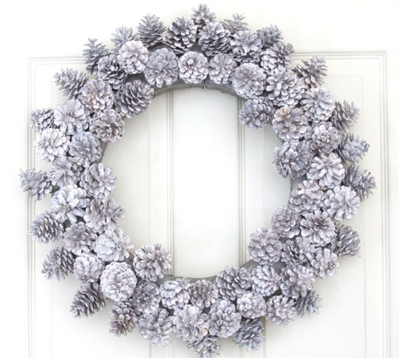 frosted pinecone holiday wreath for door