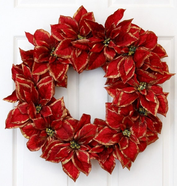 Poinsettia Gold-Tip Holiday Christmas Wreath // Christmas Wreath