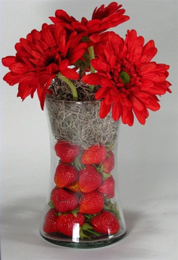 Strawberries N Gerberas Tabletop Arrangement Silk