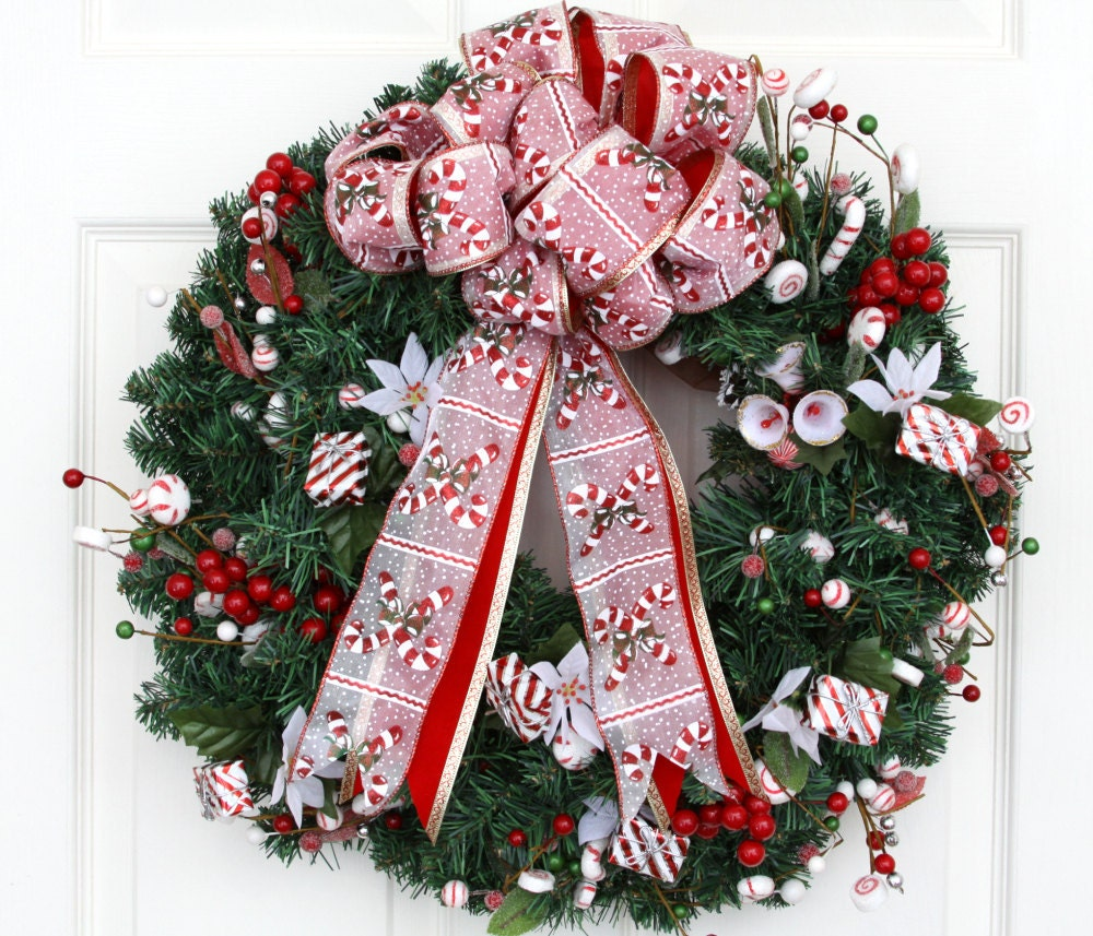 candy cane battery operated christmas wreath holiday wreath. Black Bedroom Furniture Sets. Home Design Ideas