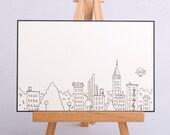 Hand-drawn Crane blank greeting card