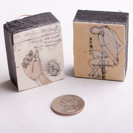 Tiny Drawings Mounted To Wood