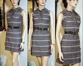 A LA MODE Vintage 60's Brown & White Belted Mini Dress XS S