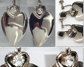 Vintage Silver Tone Curled Heart With Rhinestone Dangle Screw Back Earrings