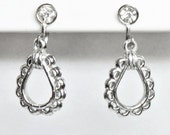 VINTAGE Silver Tone & Rhinestone Screw Back Dangle Earrings Circa 1950