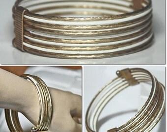 Vintage 60s Gold Tone & White Enameled Metal Bangle Bracelet
