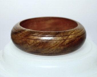 VINTAGE Wood Bangle Bracelet 70s 80s