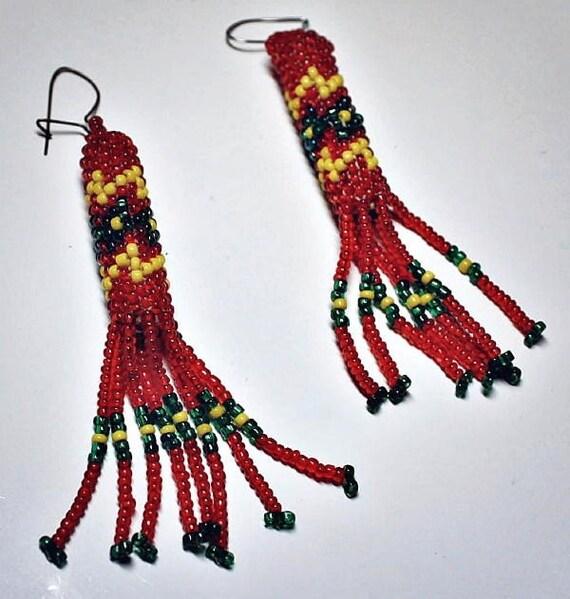 Long VINTAGE Native American Style Glass Seed Bead Tube Fringe Earrings