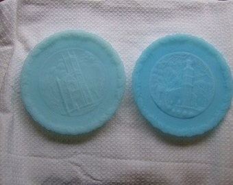 2 Icy Blue Satin Glass Fenton Christmas Plates 1975 and 1978