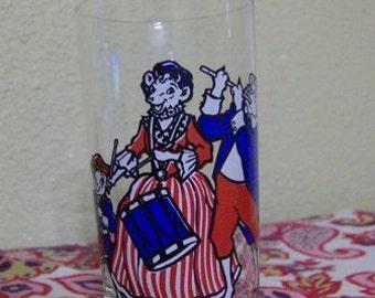 Bicentennial Tumbler Bordens Elsie the Cow 1976 Glass Red White and Blue Retro Fun