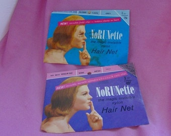 Collection of 2 Vintage Hair Net Envelopes NoRUNette with Nets Ephemera