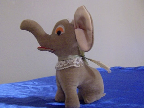Vintage Sawdust Stuffed Velvet Elephant Japan Made Jerry Elsner 38