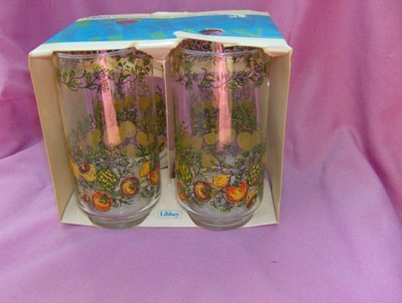 4 Tumblers Corning Corelle Spice of Life Go With Pattern Libbey Bonne Sante