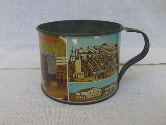 Vintage Souvenir Tin Cup Pennsylvania Dutch Country 1974 Scenic Amish