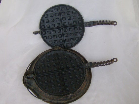 ON SALE  Rustic Old Cast Iron Waffle Maker or Waffle Iron and Low Base