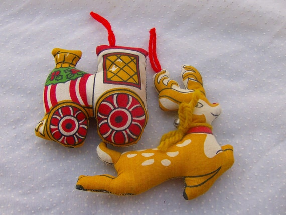 Vintage Stuffed Christmas Ornaments Train and Rudolph the Reindeer
