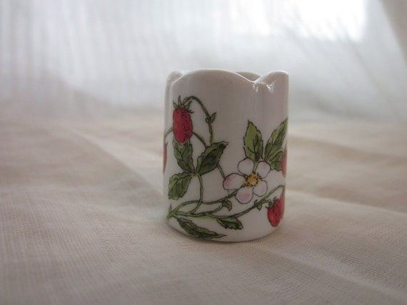 Tiny Strawberry Funny Design Vintage Miniature Candle Holder