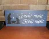 Christmas Wood Sign/Nativity Sign/Jesus/Christmas Decor/Primitive/Blue Rustic Sign/Home Decor/6 x 18/DAWNSPAINTING