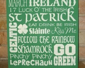 "St. Patrick's Day Subway Sign , Painted Primitive Wood Sign, Irish Decor, Home Decor, Shamrock 12"" x 12"""