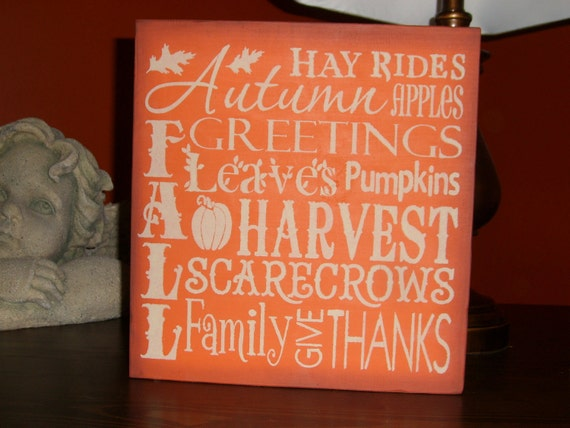 """FALL Sign/Fall Decor/Wood Sign/Home Decor/Fall Typography Sign/Autumn/Halloween Decor/Primitive Sign/Country Sign/DAWNSPAINTING/12"""" x 12"""""""