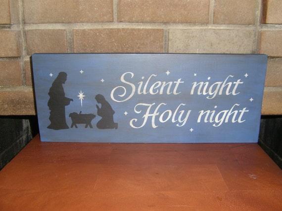 Christmas Wood Sign/Nativity Sign/Jesus/Christmas Decor/Primitive/Blue Rustic Sign/Home Decor/6 x 18/DAWNSPAINTING