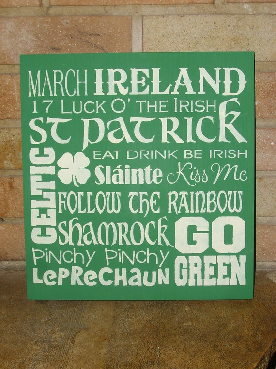 "St. Patrick's Day Subway Sign , Painted Primitive Wood Sign, Irish Decor, Home Decor, Shamrock 12"" x 12"""