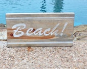 Beach Sign, vintage surfboard-style