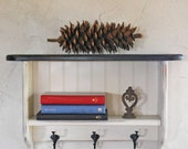 Black and White Wall Shelf, Bookshelf, Beadboard, Shelf with Hooks, Farmhouse