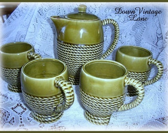 Vintage Olive Green Tea Set TREASURY ITEM