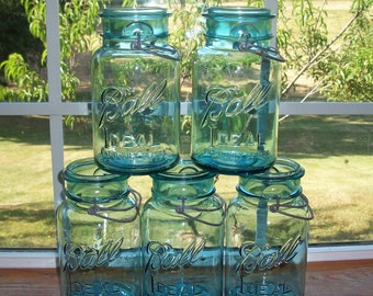 5 Blue Ball Ideal Mason Jars with WIRE Handles Quart Size Vintage Blue Jars