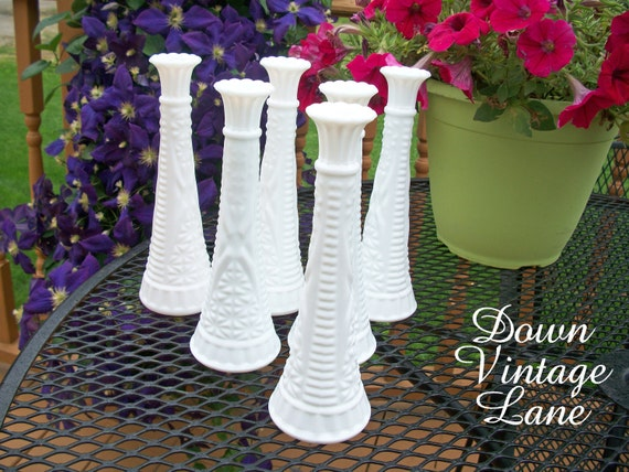 Milk Glass Bud Vases Collection of 6 Vintage for Weddings, Parties, Receptions