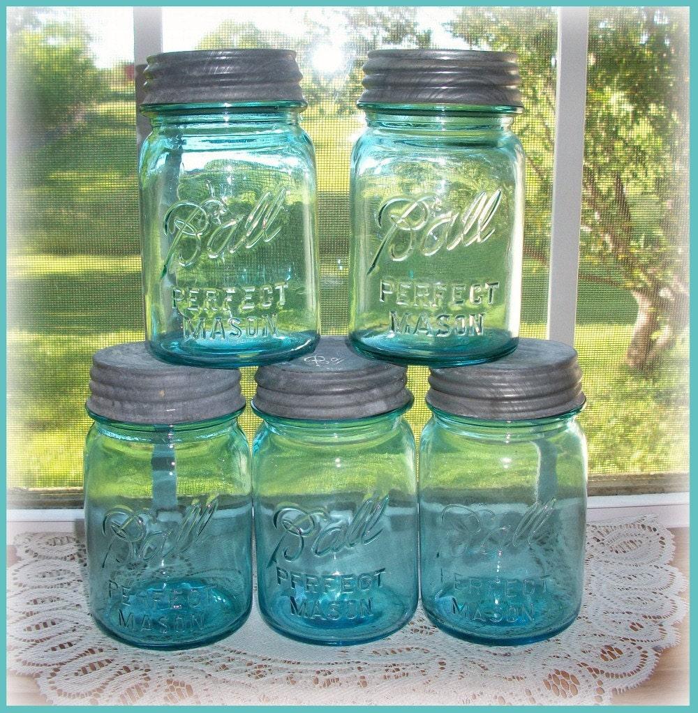 5 blue ball mason jars pint size zinc lids buy one or buy all. Black Bedroom Furniture Sets. Home Design Ideas