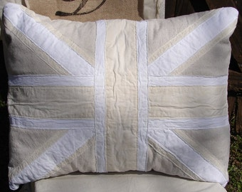 Appliqued Layered Cotton Canvas Muslin British UNION JACK Pillow Sham Pillow Cover Neutral