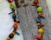 Carnival:  Colorful Tagua Nut, African Glass, and Coconut Bead Necklace