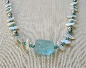 Aqua Glass and Biwa Pearl Necklace with Chunky Glass Nugget Beachy Summer Jewelry