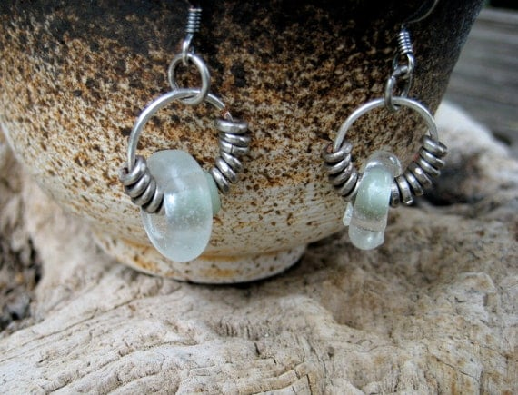 Antique Glass and Rustic Silver Earrings