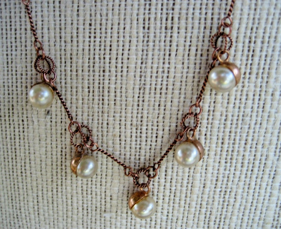 Vintage Glass Pearl Choker on Copper Chain