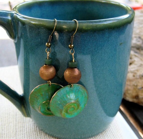 Patina Green Nautilus Earrings with Vintage Brass and Czech Glass Hand Painted Ocean Jewelry