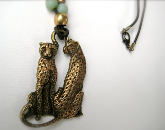 Cheetah Pendant with Vintage Brass