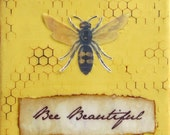 Honeybee Painting Beehive Inspirational Gift Her 4x4 Honey Rustic Cottage Decor Small Art Ready to Ship