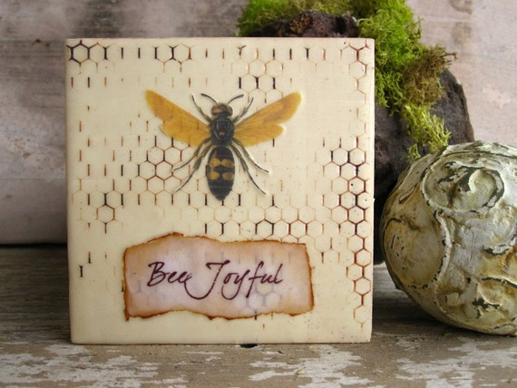 Bee Joyful - Honeycomb Bee Painting Beewax Art