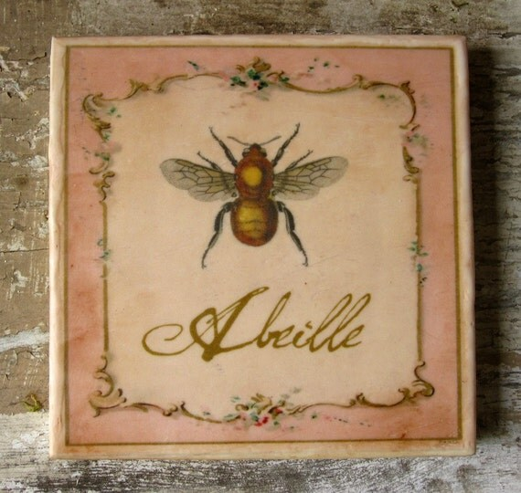 French Bee Painting Cottage Chic Vintage Encaustic