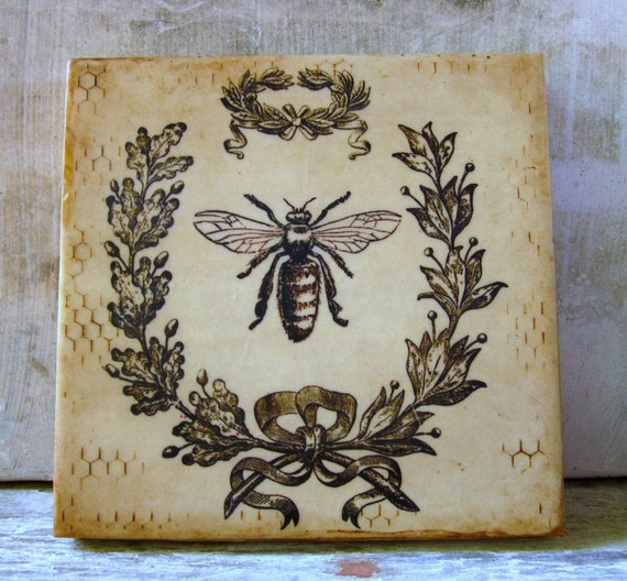 Bee Painting Gift Her 6x6 Wreath Rustic Romantic French Cottage Decor Small Art Encaustic Beeswax Ready to Ship
