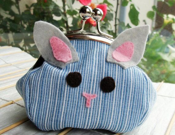 Bunny Kisslock Frame Purse - Blue and White Stripes (Upcycled Materials)