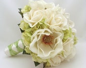 Bridal Bouquet with Real Touch Magnolias Real Touch Roses and Hydrangea in Green and Ivory